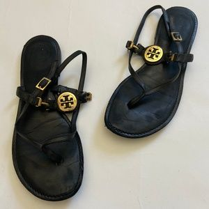 Tory Burch Ali Black Leather Gold Logo Sandals